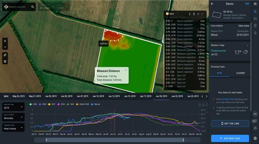 satellite crop monitoring software interface