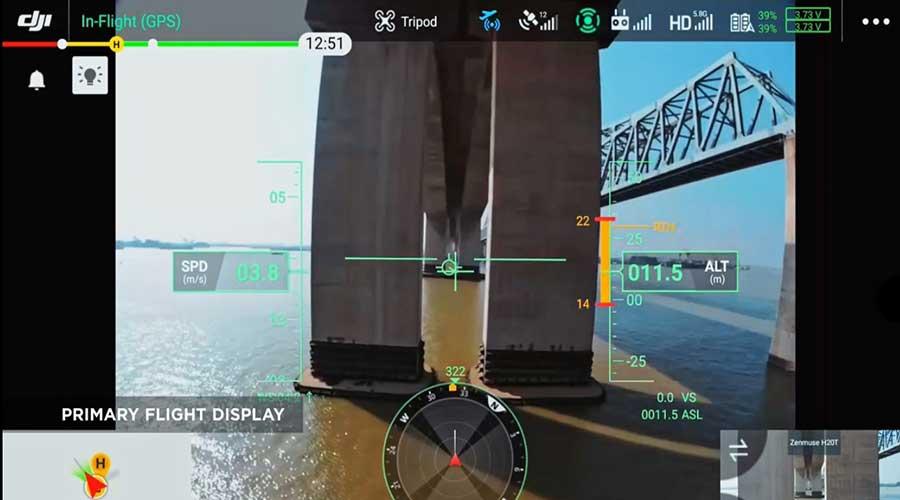 Drone in flight display